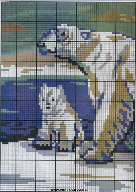 Oso Polar punto de cruz   Punto de cruz - Colección de patrones ...