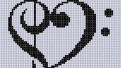 corazón musical en punto de cruz