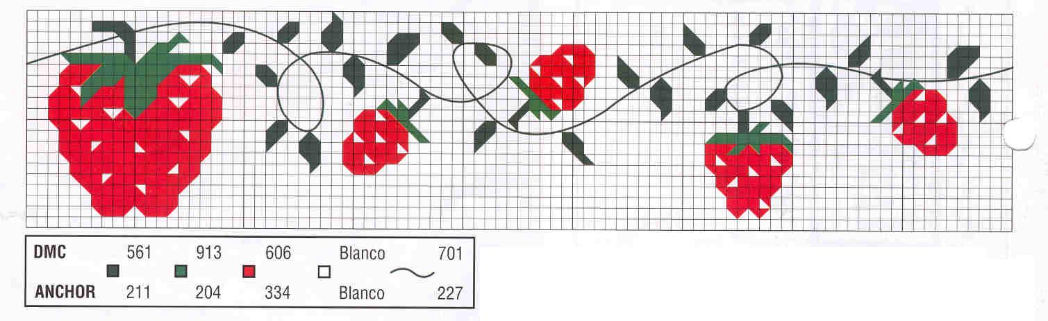 Patrones punto de cruz cenefas flores tattoo design bild for Cenefas para cocina