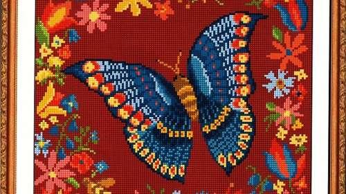 mariposa-azul-y-flores-en-punto-de-cruz