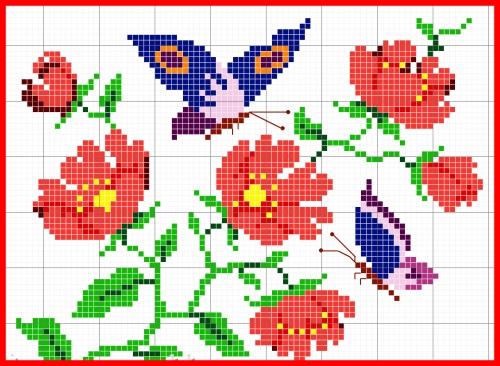 rosas y mariposas en punto de cruz